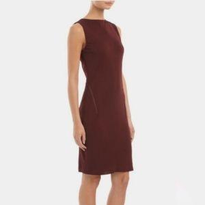 T by Alexander Wang mesh cut out burgundy dress